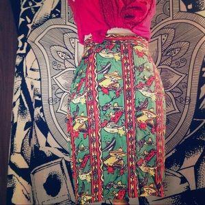 Vintage DKNY Midi Festive Print Skirt
